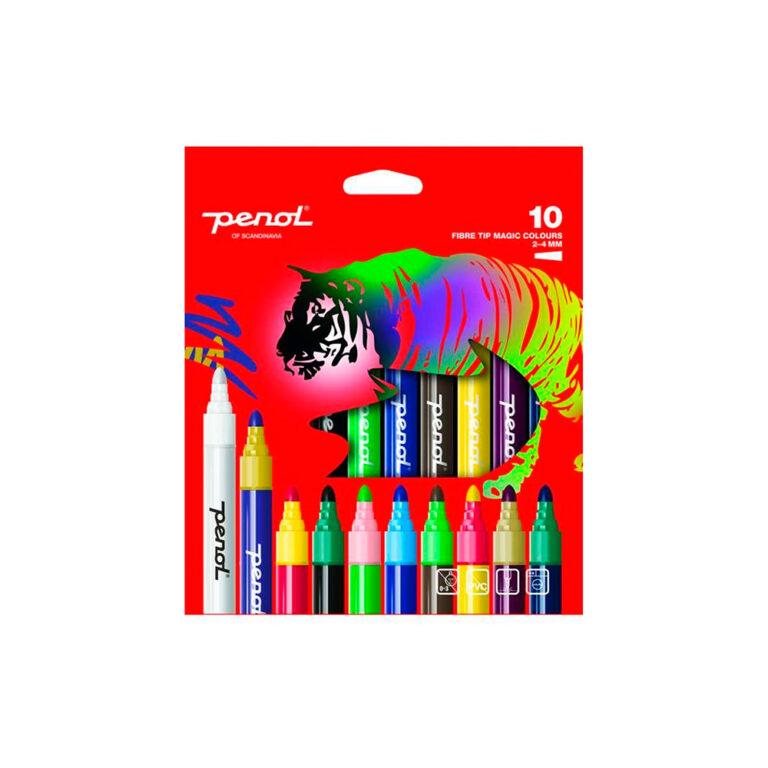 Penol-Fibre-Tip-Pens-10-Magic-colours