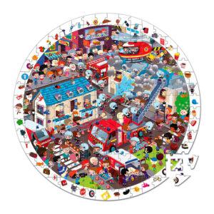 Janod-puzzle-208-brikker-brandbilsaktion