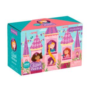 Mudpuppy-glitter-puslespil-100-brikker-prinsesseslot